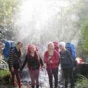 Girls Under Waterfall